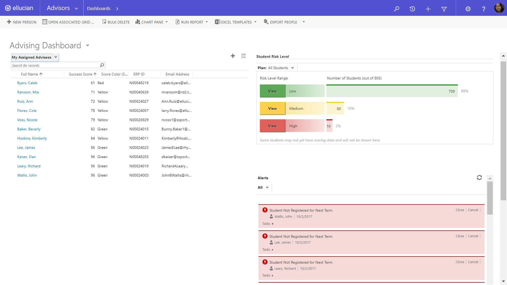 Advising dashboard