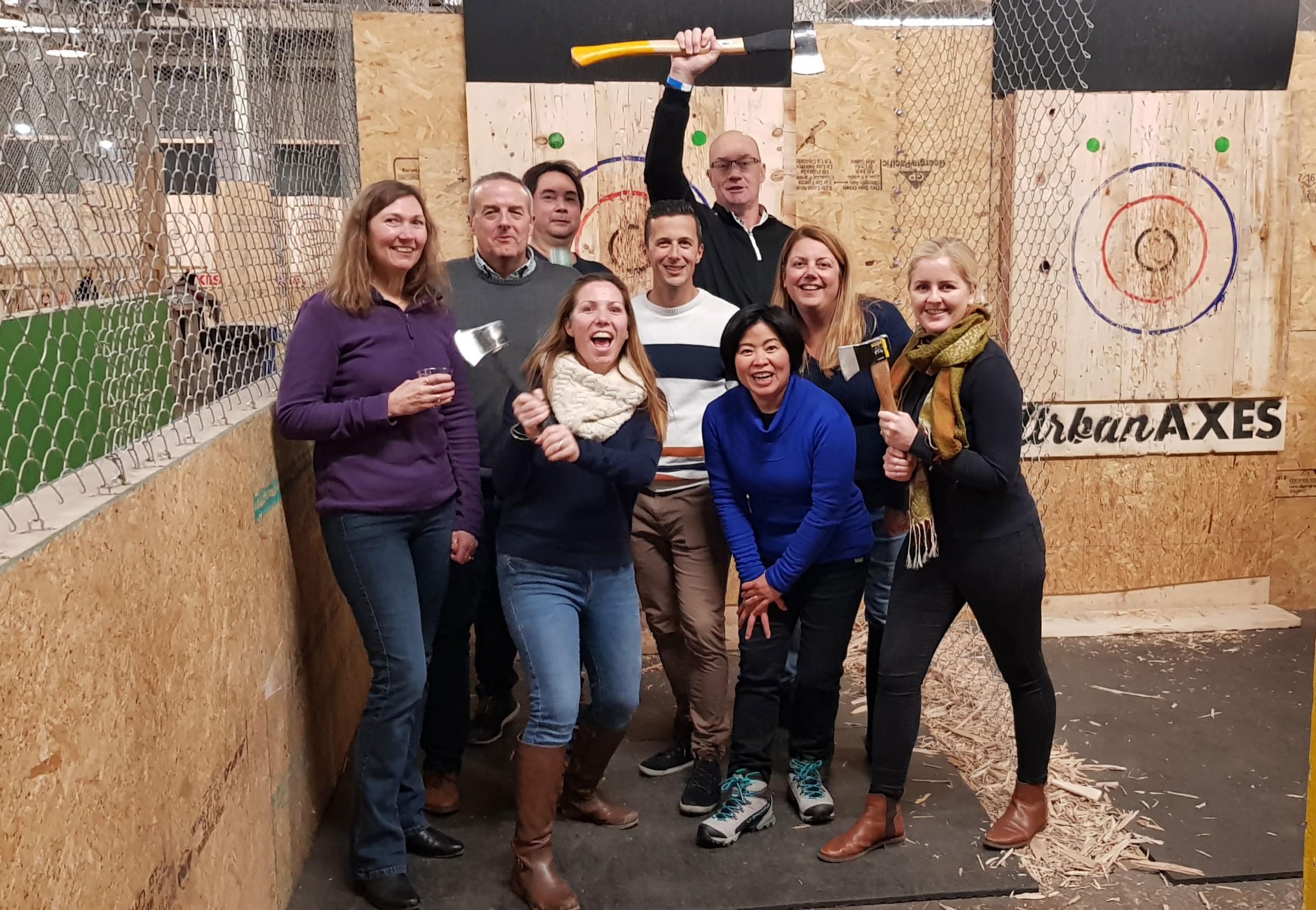 Primo and team axe throwing