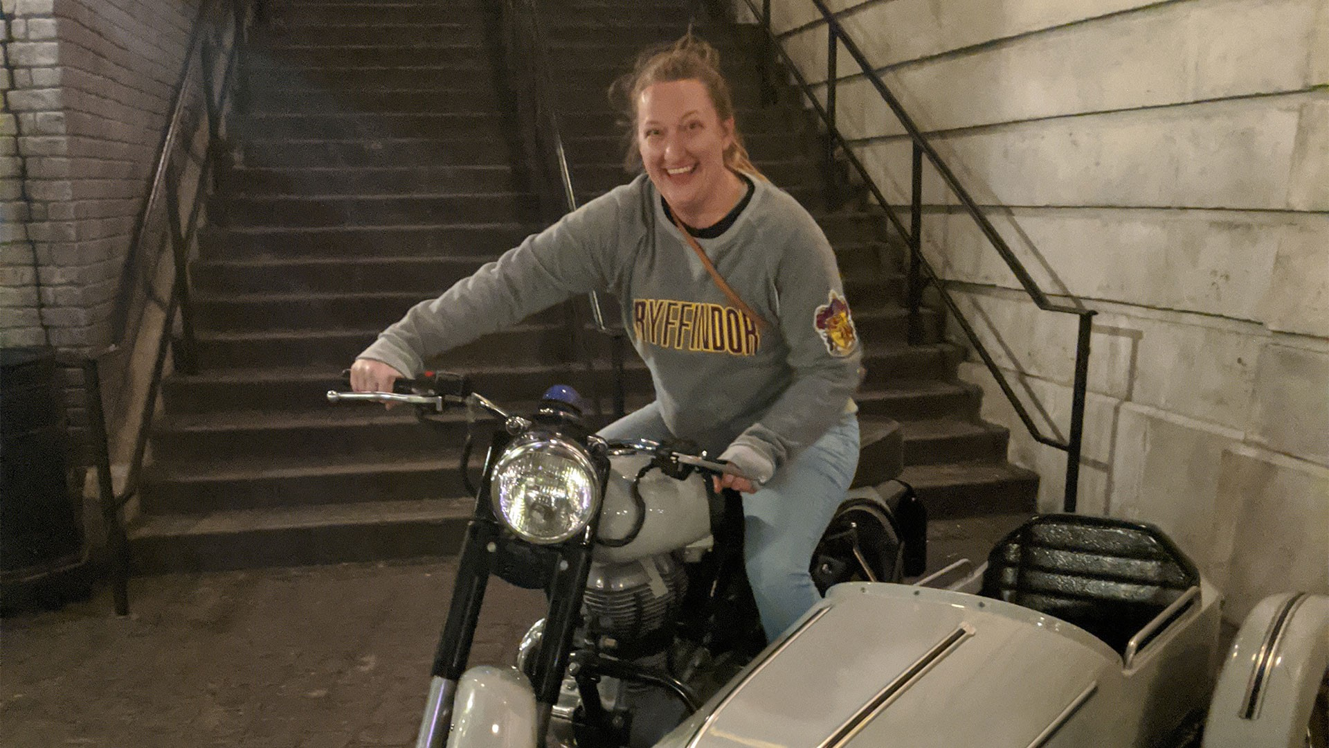 Gina on a motorcycle