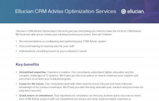 Ellucian CRM Advise Optimization Services