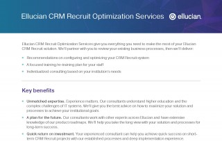 Ellucian CRM Recruit Optimization Services